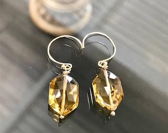 Whiskey Topaz Earrings, Whiskey Topaz Dangle Earrings on 14k Gold, Whiskey Topaz Jewelry, Light Brown Topaz Earrings.