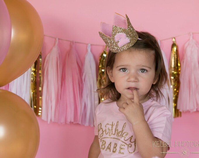 Glitter Birthday Crown || First Birthday Crown || Pink and Gold Crown || Girl Birthday Crown