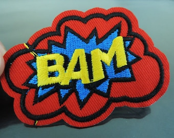 BAM Letter Patches - Iron on or Sewing on Patch Letter Patches Red Blue Yellow Patch Embellishments Embroidery fonts