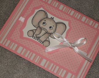 Hand made Baby Girl Elephant Baby Shower Card Adoption Card Expecting Card Baptism Card
