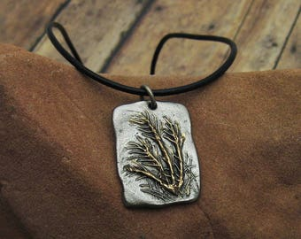 Bronze and Leather Necklace, Mixed Metal Necklace, Rustic Necklace, Ornamental Grasses Necklace, Wild Grass Necklace, Organic Jewelry
