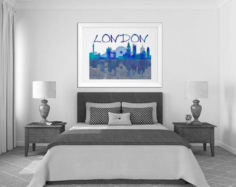 London Print, Typography Art, Wall Art, London skyline, Modern Art Print, Urban Art London Art wall decor Blue Home Decor Bedroom Wall Decor