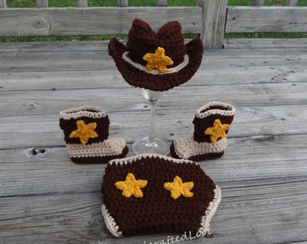 Newborn Baby Crochet Cowboy Hat Boots Photo Prop Set Outfit Diaper Cover 0-3 Months Shower Gift