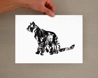 Minimal abstract cat art, modern cat print, cat print, cat wall art, silhouette cat print, black and white cat print, minimalist cat print