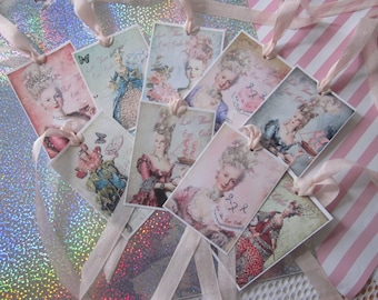 Let Them Eat  Cake~HANDMade  Marie Antoinette Gift Tags ~ Glitter ~ Ribbon 9
