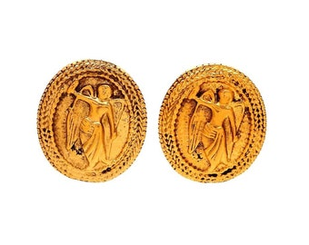 Authentic vintage Chanel earrings gold angel medal #ea2090