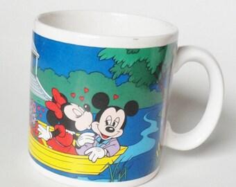1 Vintage Mickey and Minnie Mouse Mug - Tunnel Of Love - Birthday Gift, Cartoon Coffee Mug, Tea Cup, Disney Collectible, Anniversary Gift