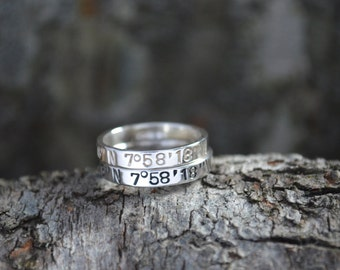 Personalized Stacking Rings, Coordinate Ring, Sterling Silver Ring, Gifts for Her, Latitude Longitude Ring, Custom Coordinates, GPS Gift