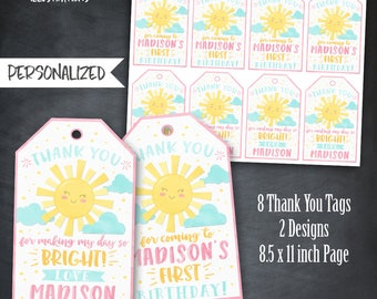 Sunshine Thank You Tags, Sunshine Tags, Sunshine Birthday Favors, Sunshine Party, Sunshine Watercolor Tags, Personalized, Printable, Digital