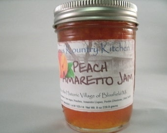Peach Amaretto Jam, Homemade Jam Jelly Preserves handmade Fruit spread