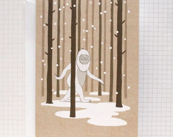 Yeti - Illustrated Greeting Card - Christmas Card