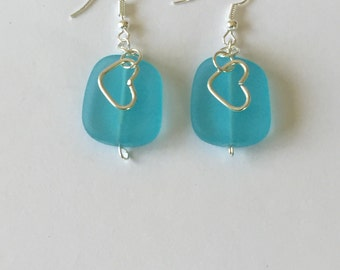 Blue Sea Glass Silver Wire Wrapped Dangling Earrings With Silver Heart Charms