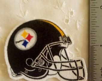 Pittsburgh Steelers Football Helmet Iron On Fabric Applique No Sew