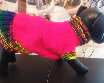 MEDIUM LONG DOG Sweater... Dog Clothes..Dog Birthday Present...Hand Knit Turtleneck Dog Sweater # 528