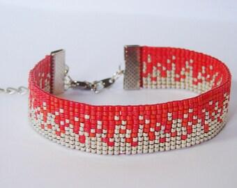 Bracelet silver sand and coral - Miyuki glass beads