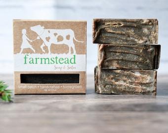 Cedarwood Pine Tar Soap // Sensitive Skin, Natural Soap, Goat Milk Soap, Cold Process Soap, Farm Soap, Handcrafted Soap