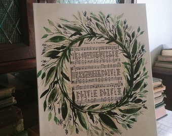 There is a Fountain Vintage Hymn Watercolor Tabletop Canvas SHIPS FREE