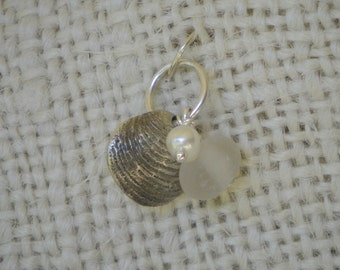 Sea Glass, Pearl, and Silver Shell Charm