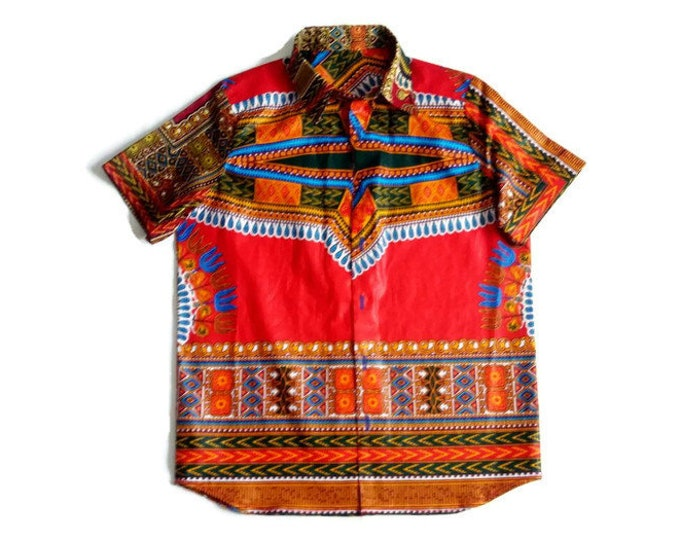 Boys Red African Dashiki shirt, African Top For Children And Todlers