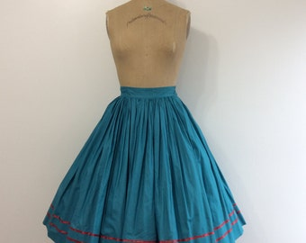 1950s Teal Full Skirt 50s Cotton Red Ribbon