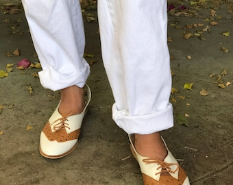 Vintage Slingback Oxford Flats with Lace Up Detail Brown and White Wing Tip Shoes