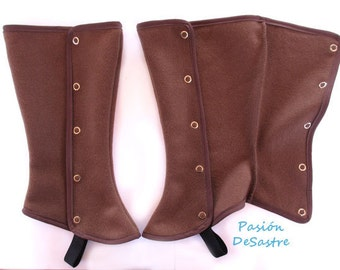 Wool fleece long gaiters one size brown red and black spat costume spats