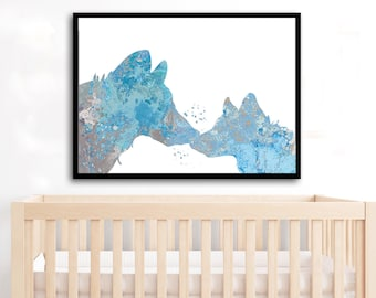 Mom baby Wolves Watercolor Art Print Wolf cub baby room decor Wolf poster Wolf cub baby shower gift Wolf nursery Wolf family new baby gift
