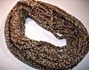 Infinity Strand or Spaghetti Scarf in Shades of Blue, Green, and Brown
