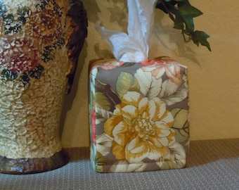 Ready To Ship -  Large Fall Roses-  Fabric Tissue Box Cover