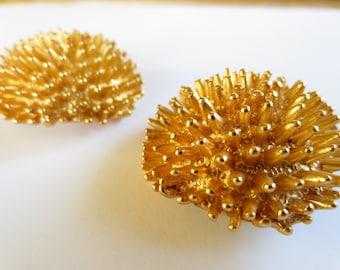Clip On Sea Urchin Earrings, 1950's Vintage Rich Satin Gold Sea Urchin, Clip On Statement Earrings, 37mm, Free Shipping!