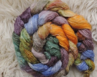 bfl linen,Firy of the Pond, 115gr top, handpainted fiber for spinning