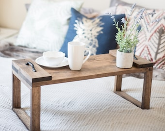 Breakfast in Bed Tray With Legs, Wood Lap Desk, Laptop Table for Bed, Dinner Tray, Serving Tray, Gift for Her, Farmhouse Bedroom Decor, B&B