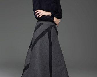 A-Line Skirt, Wool skirt, winter skirt, womens skirts, midi skirt, long wool skirt, gray skirt, Vintage skirt, skirt, Work Skirt C775