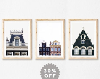 Amsterdam Prints, Set of 3 Prints, Scandinavian Prints, Wall Art Print Set, Travel, Minimal Modern Photography Prints, Architecture