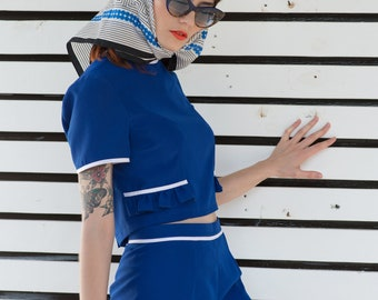 Blue ruffle shorts 1960s Mod Miu mini culotte Custom made