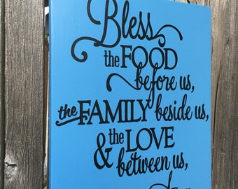 Bless the Food Before Us Wood Sign Bless this Food Sign Kitchen Decor Kitchen Signs Dining Room Wall Decor