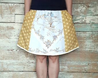 Spring and Summer Skirt with Vintage Fabric adjustable waist size M- XL