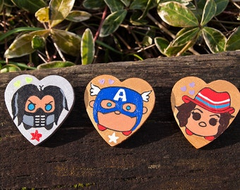 Marvel Captain America Steve Rogers Avengers Infinity War Tsum Tsum - Custom Hand Painted Wooden Pin - Cute Adorable Pin Badge Button Gift