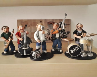 BOPPIN B... One of the coolest rock n roll bands ever... (Handmade from Fimo and hand painted)