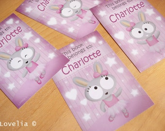 "Personalized Bookplates Stickers ""Bunny Ballerina""  set of 8"