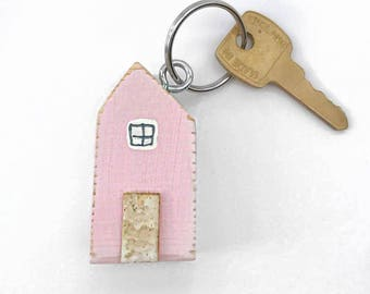 Pink House Keyring, Wood Keychain House, Key Chain, Moving Away Gift, Home Keyring, Key Ring Wood, Key Ring, Wood Keyring, Keyring House
