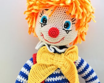 ETSY BIRTHDAY SALE - Circus Clown doll Art doll Circus decor Plush Clown decor Rainbow toy Big toy Unique doll Stuffed Clown toy Crochet toy