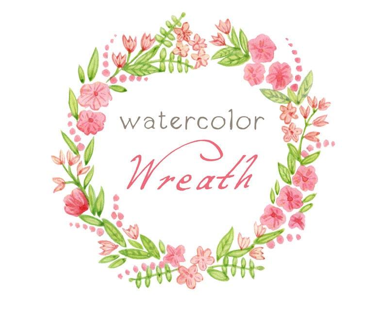 Digital Wreath, Digital Clipart, Watercolor Flowers, Floral Frame ...