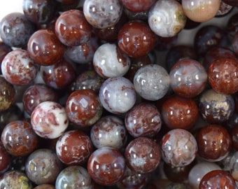 """10mm natural red lightning agate round beads 15.5"""" strand 40105"""