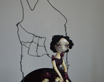 Another Life. OOAK Handmade Art Doll. Lonely Girl Doll. Sadness.
