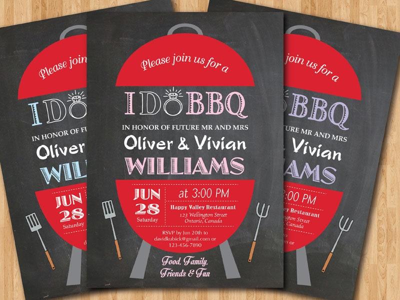 Backyard Bbq Wedding Invitations: I Do BBQ Wedding Invitation. Chalkboard Backyard Invite. Pink