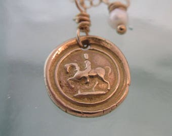 Handcrafted Yellow Bronze Vintage Wax Seal Horseman on Gold-Filled Chain with Freshwater Pearl