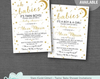 Stars Gold Glitter Twin Baby Shower Invitation, Twin Boys, Twin Girls, Twin Boy and Girl, Moon, Twinkle Twinkle, Printable, Printed, 2S
