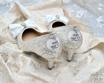 Swarovski pearl white silver crystal encrusted lace vintage bow embellished decal heart wedding Bridal mid heel court shoes