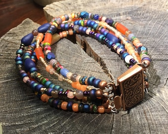 Bohemian 5 strand multicolored bracelet with antiqued copper clasp